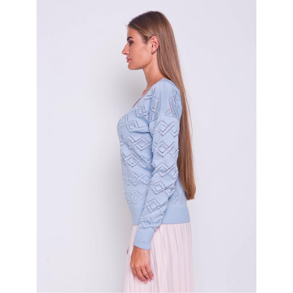 Ажурный пуловер небесного цвета фото 3