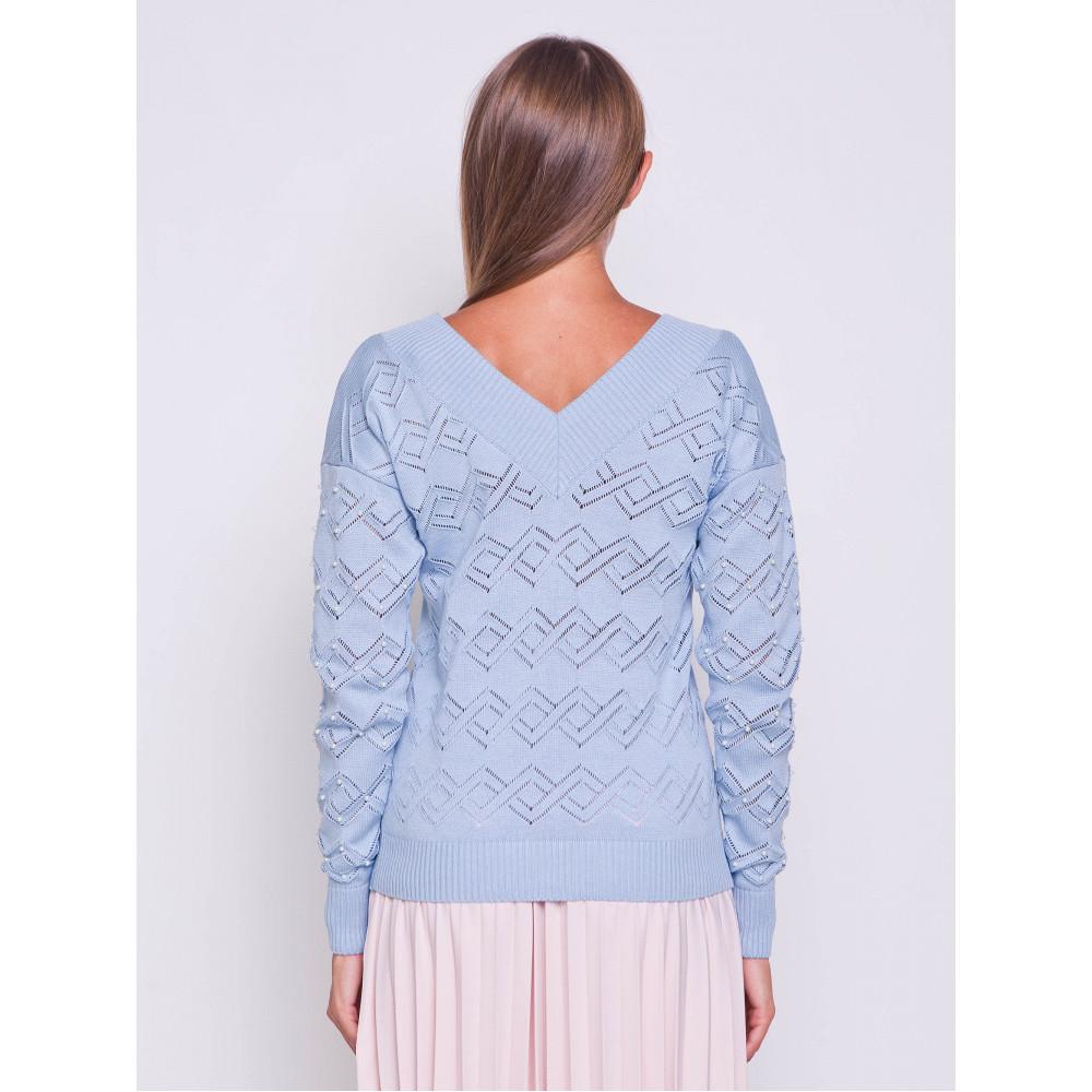 Ажурный пуловер небесного цвета фото 4