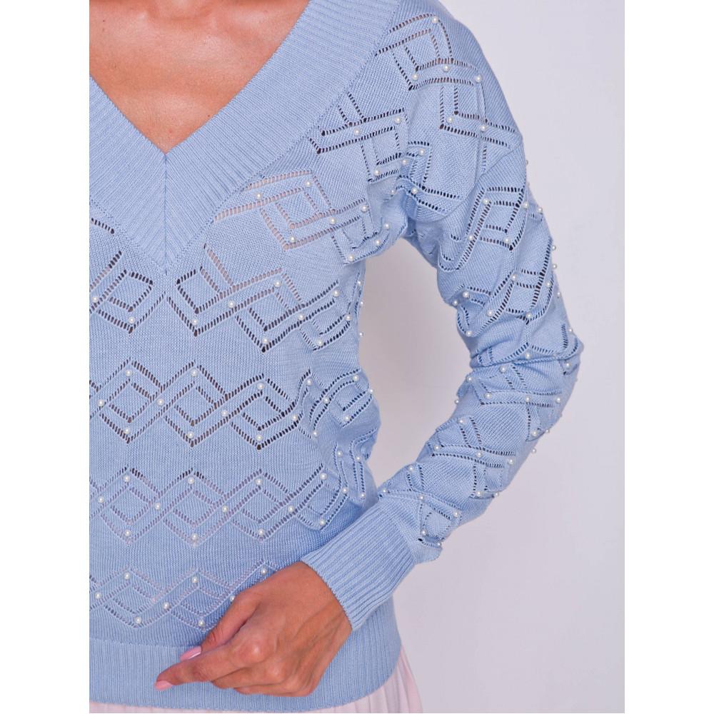Ажурный пуловер небесного цвета фото 5