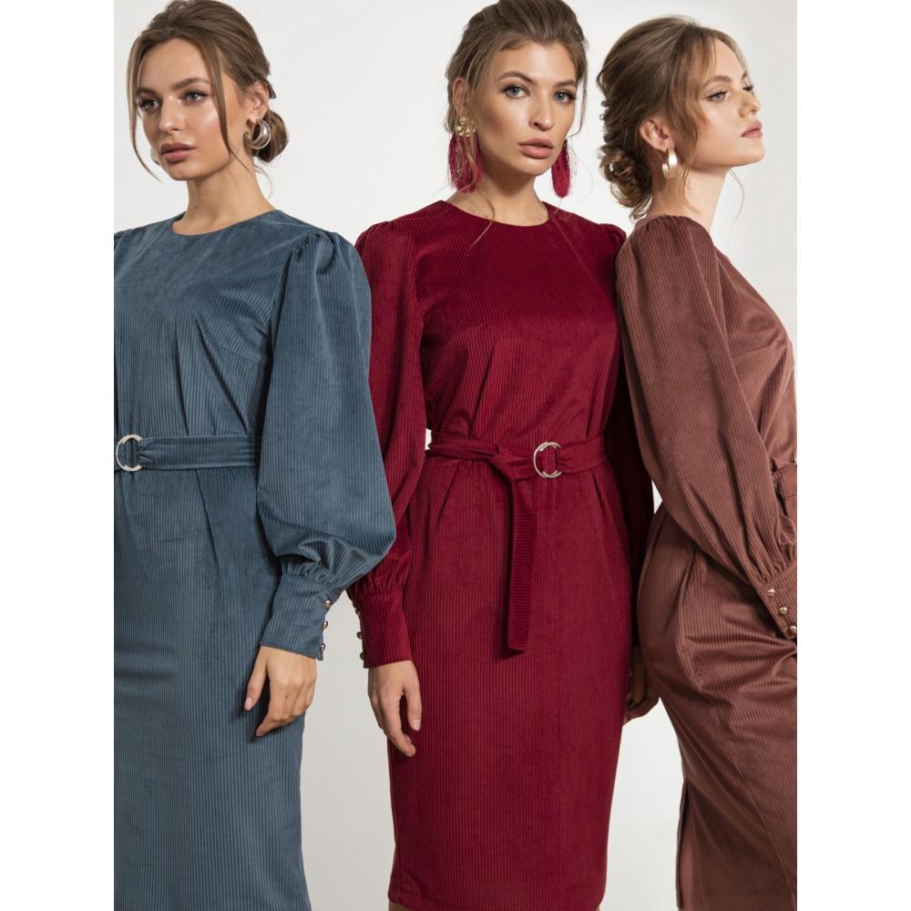 Бордовое платье-футляр из вельвета Сьюзи фото 1