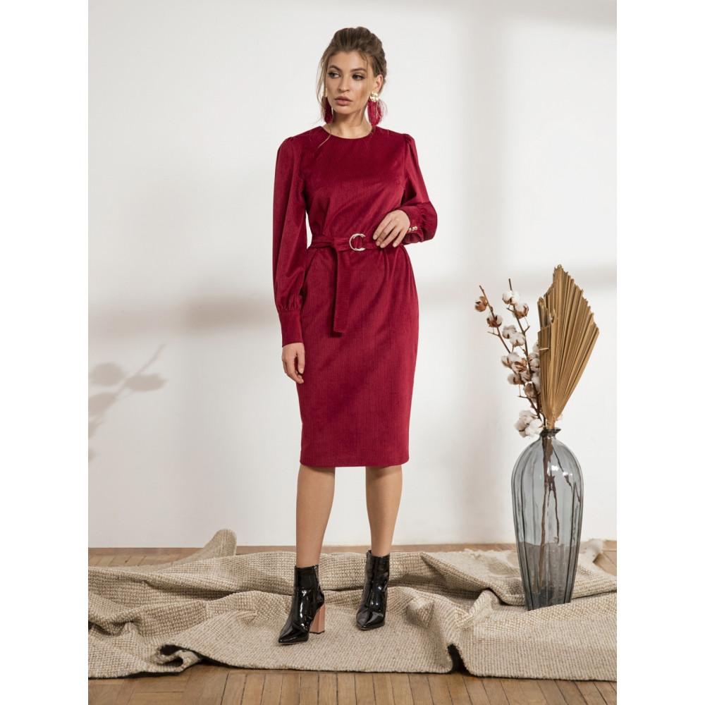 Бордовое платье-футляр из вельвета Сьюзи фото 2