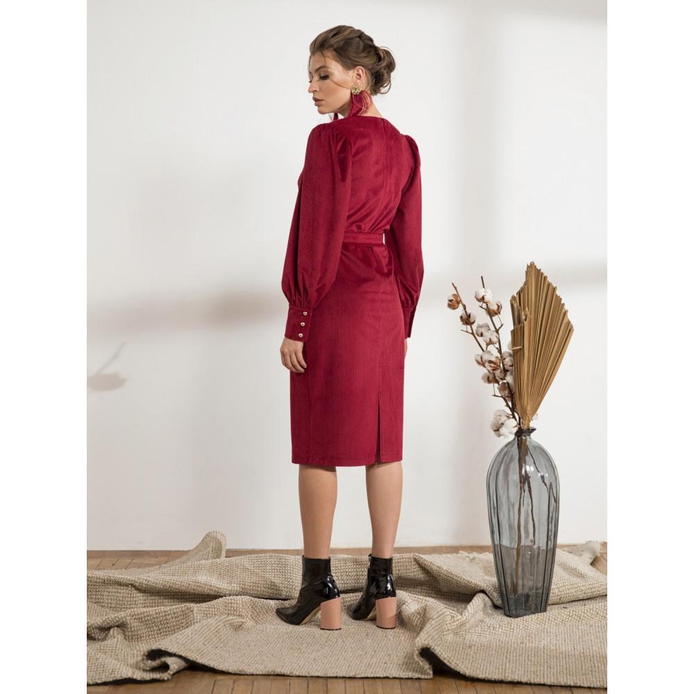Бордовое платье-футляр из вельвета Сьюзи фото 3