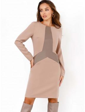 Элегантное платье-футлаяр с вставкой из эко-кожи
