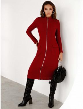 Червона в'язана сукня на блискавці