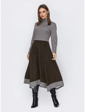 Стильное платье Доминика с вельветовой юбкой