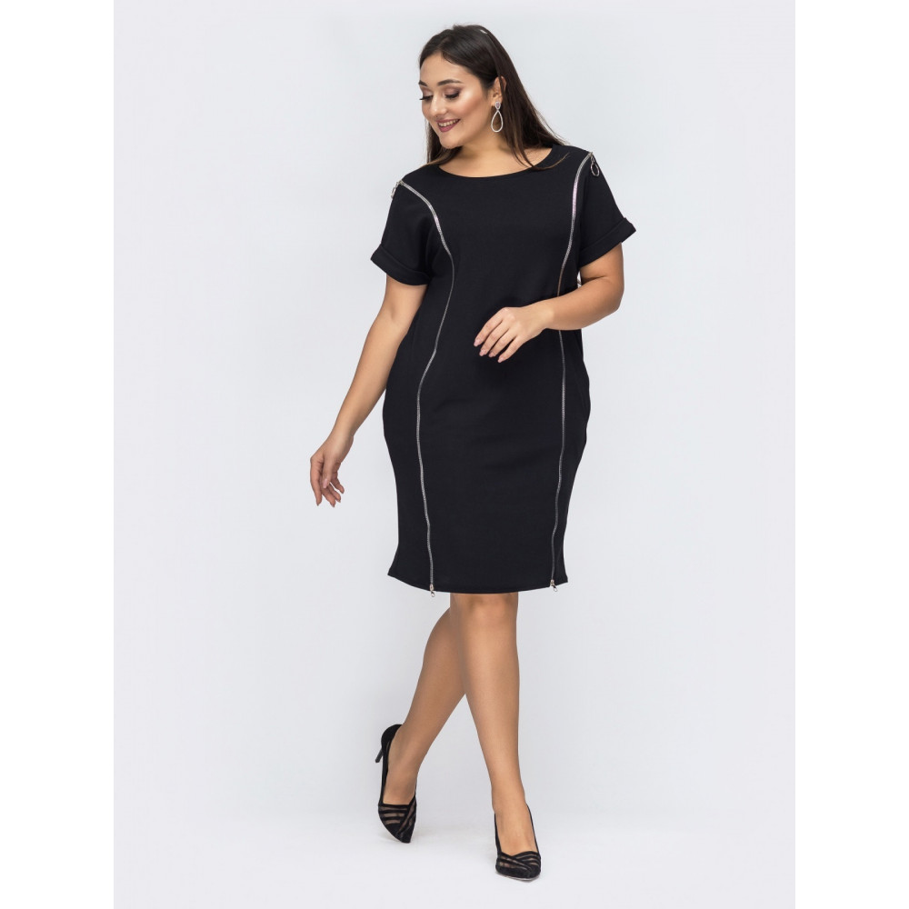 Интересное платье-миди с молниями фото 1