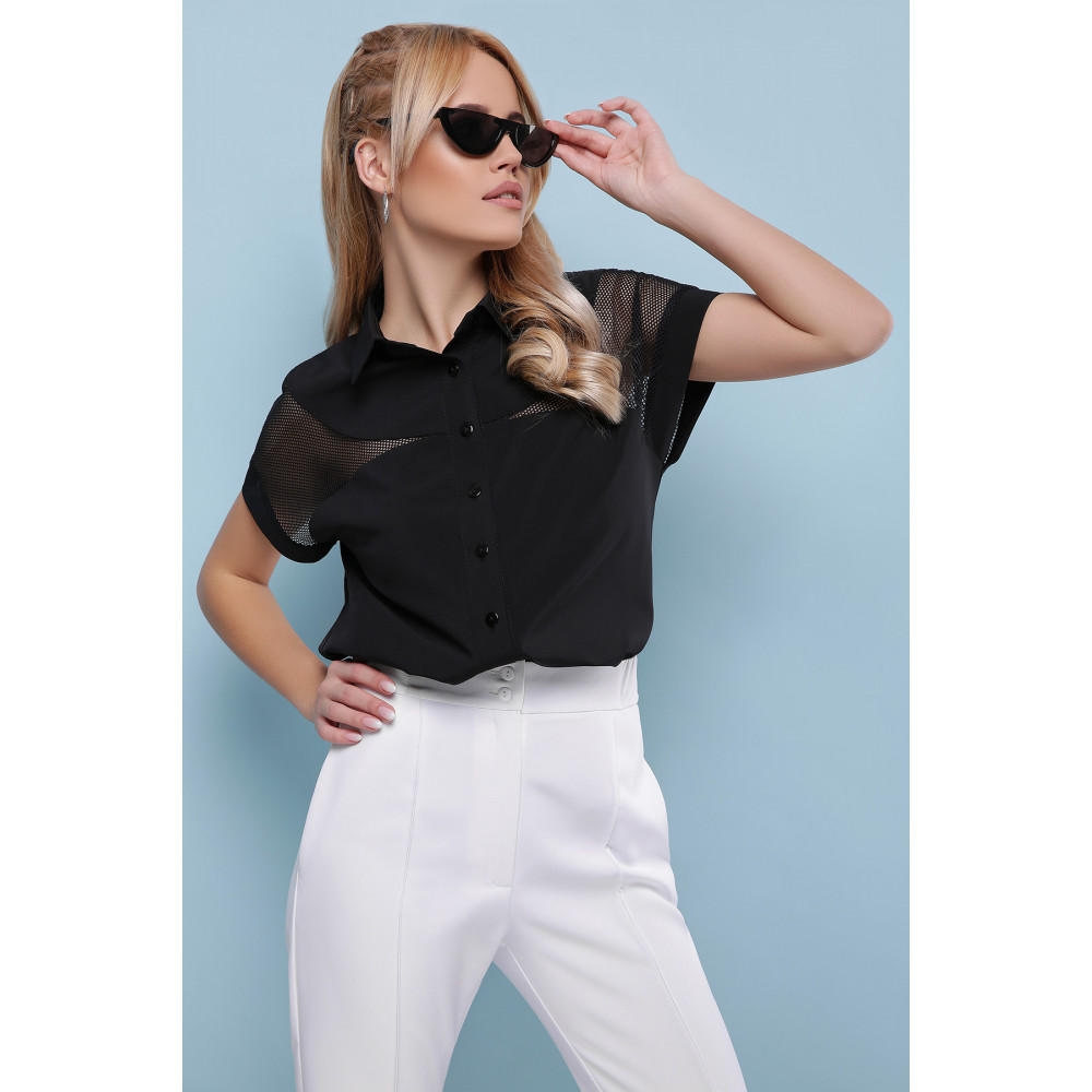 Интересная черная блузка Сафо фото 3