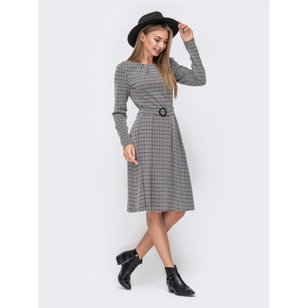 Деловое платье-клеш в клетку Нэнси фото 2
