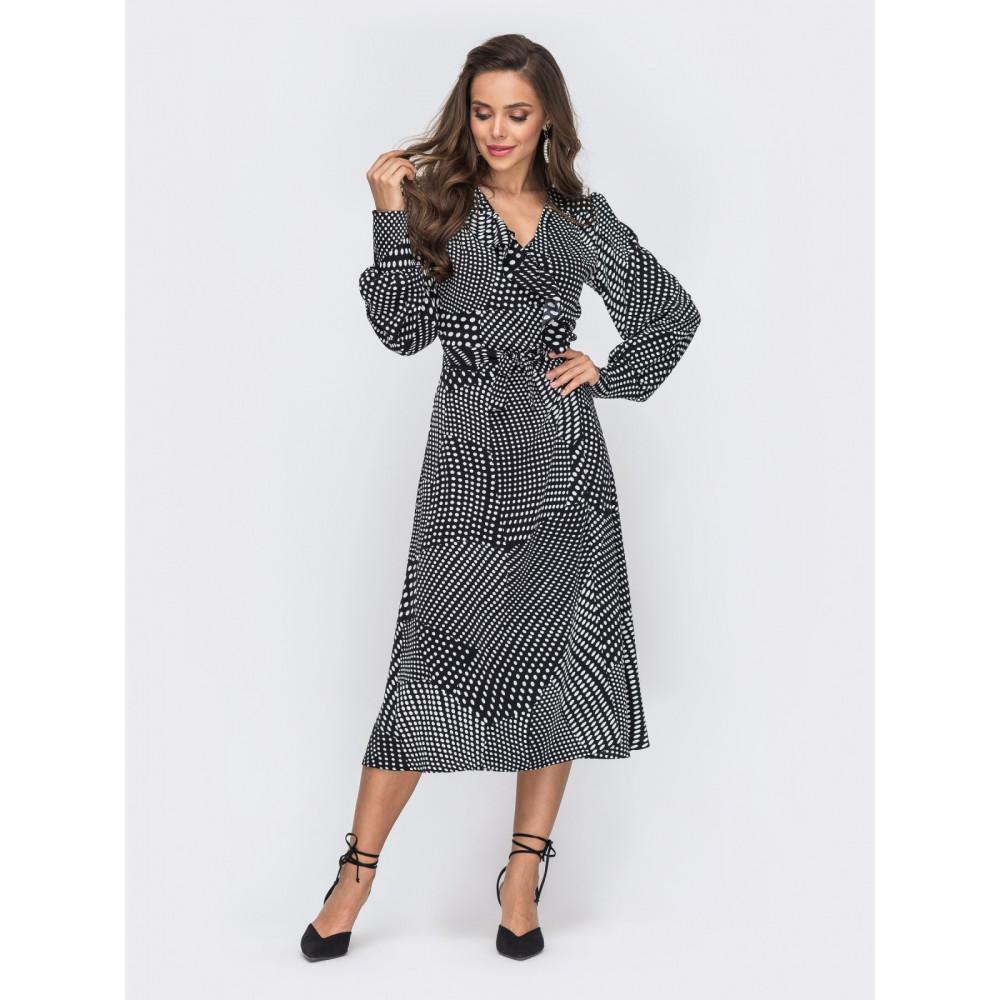 Жіночна сукня-міді з воланом фото 1