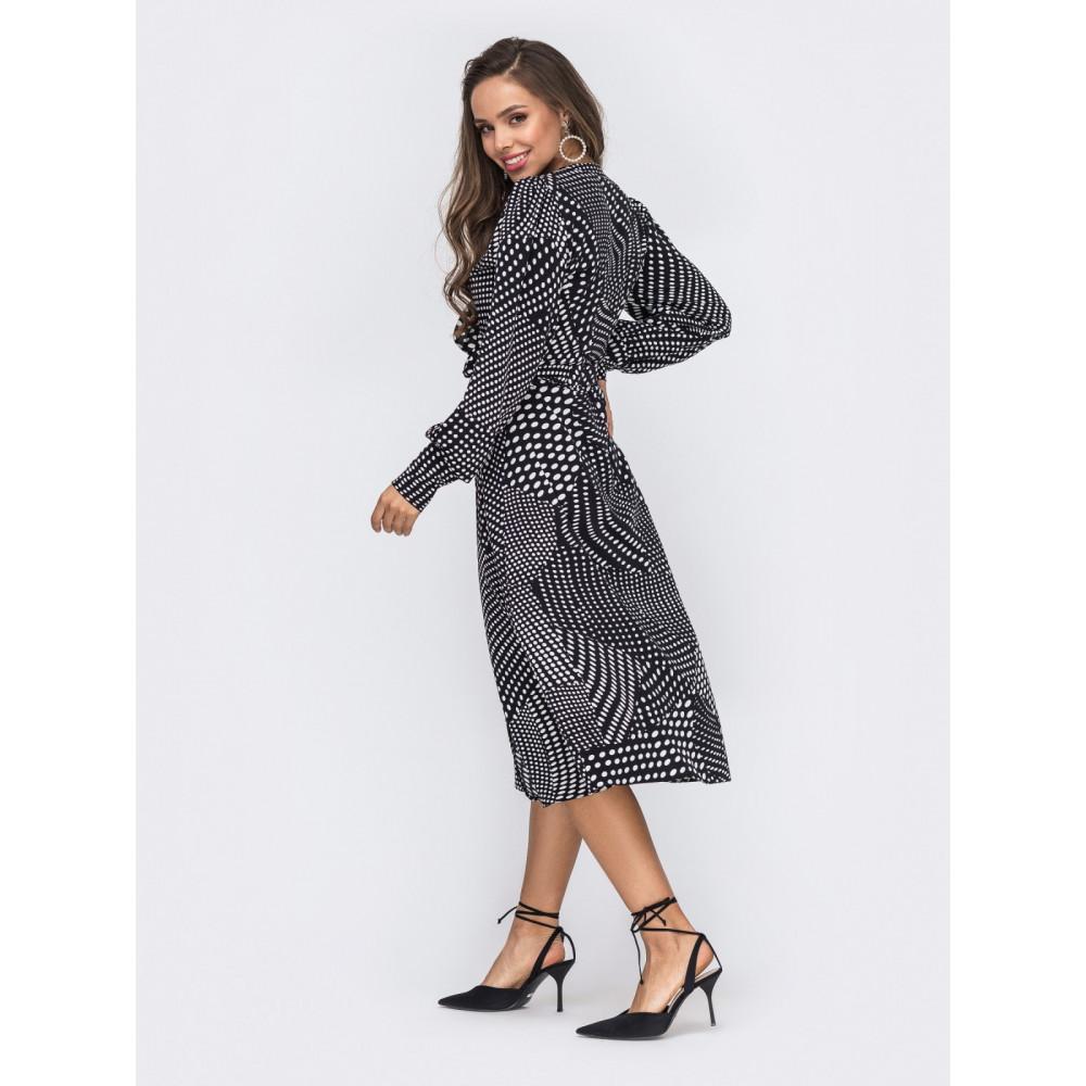 Жіночна сукня-міді з воланом фото 2