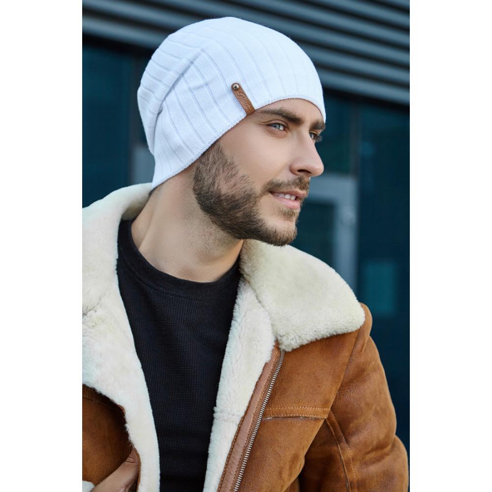 Белая шапка с флисом Реал фото 1