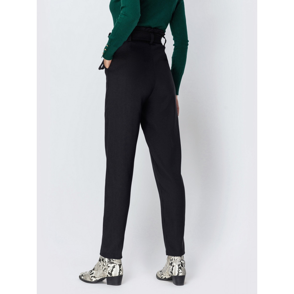 Классические брюки с высокой посадкой из плотной костюмной ткани фото 2
