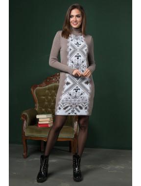 Бежева сукня в етно-стилі Ольга