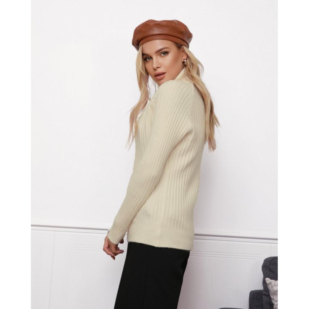 Бежевый милый вязаный свитер Алсу фото 2