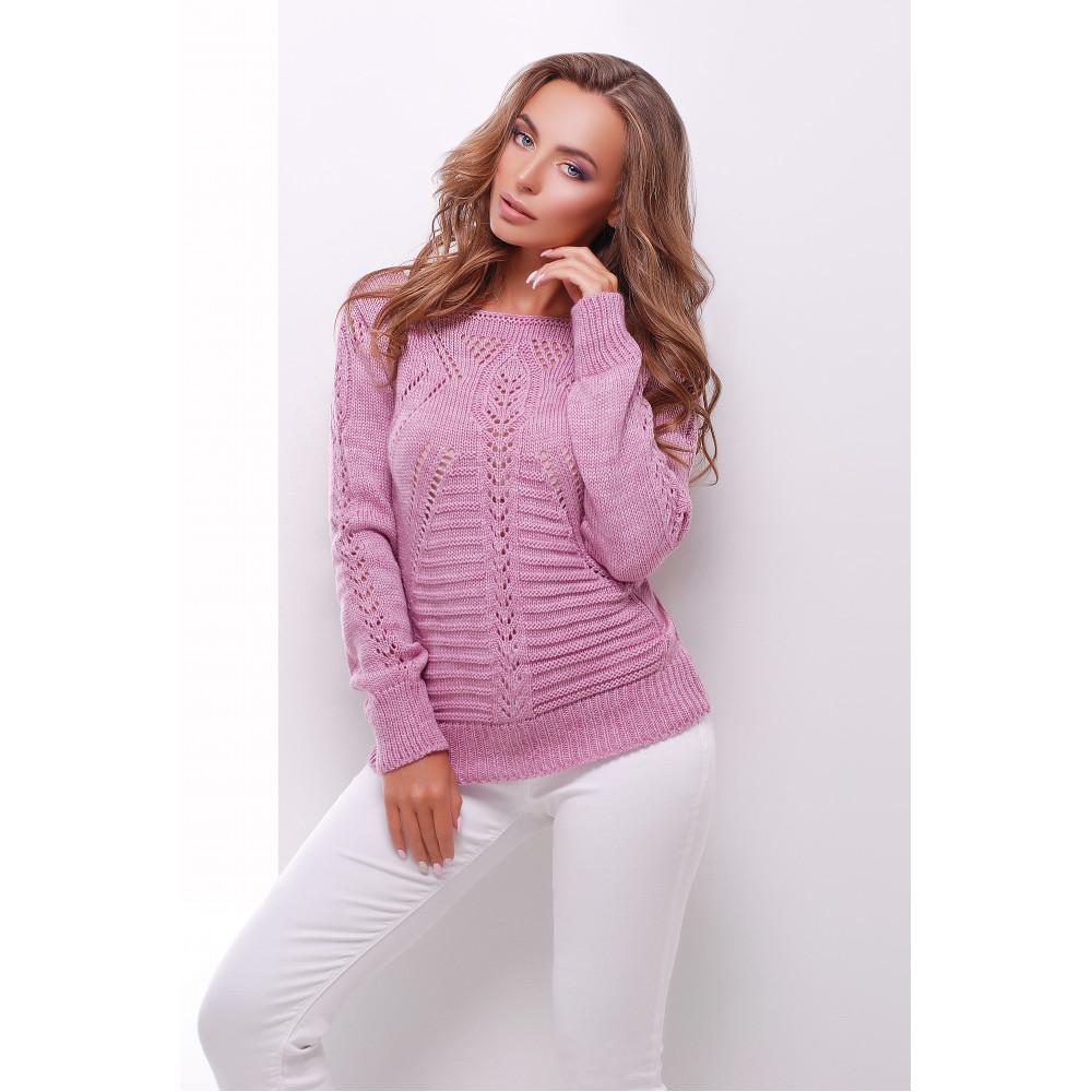 Ажурный сиреневый свитер фото 1