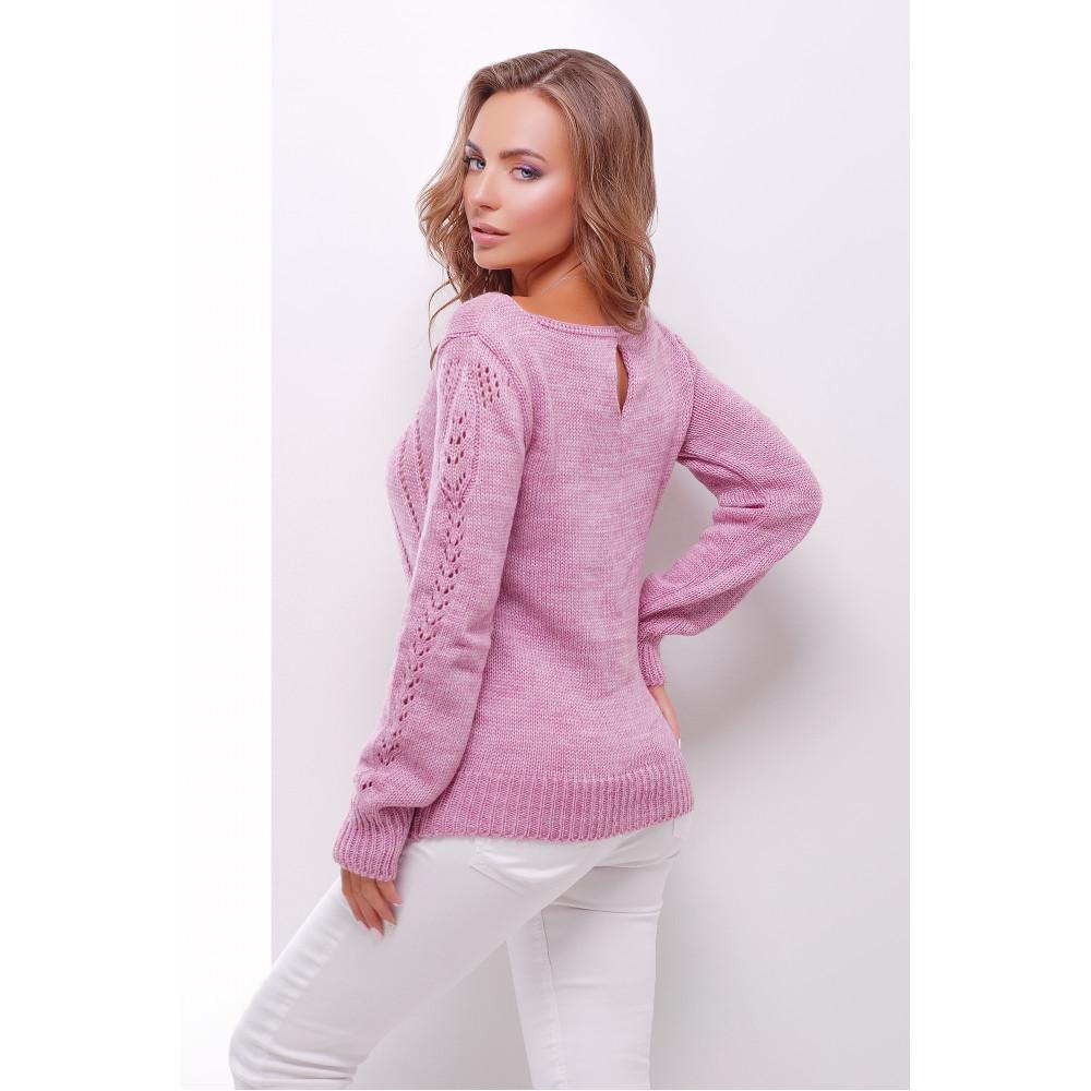 Ажурный сиреневый свитер фото 2
