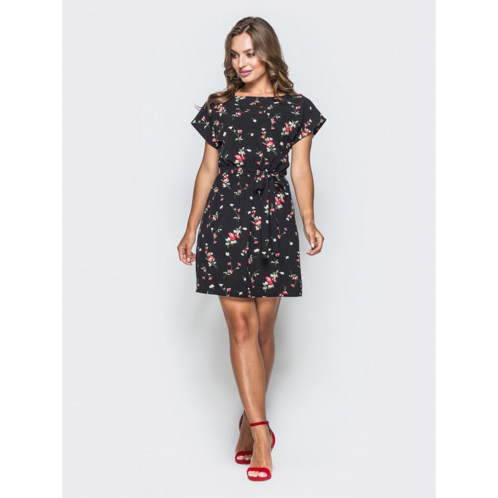 Красивое черное платьице в мелкие розочки фото 1