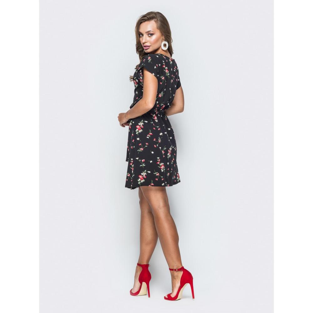 Красивое черное платьице в мелкие розочки фото 3