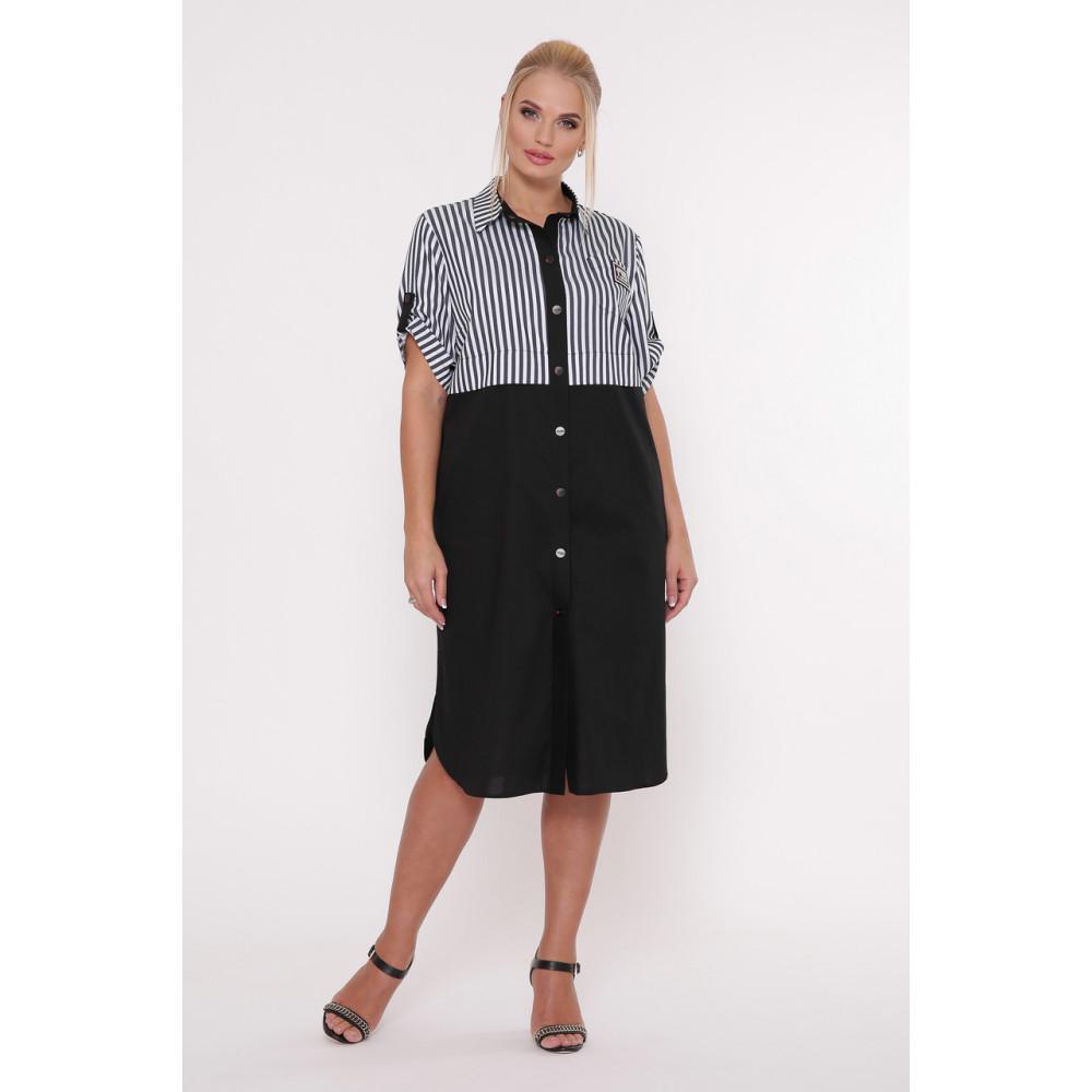 Модное комбинированное платье-рубашка Лана фото 1