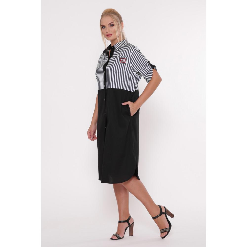 Модное комбинированное платье-рубашка Лана фото 3