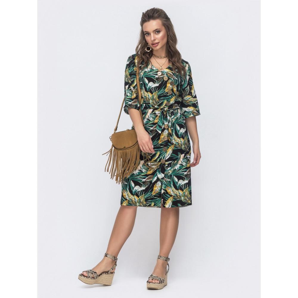 Интересное зеленое платье из льна  фото 1