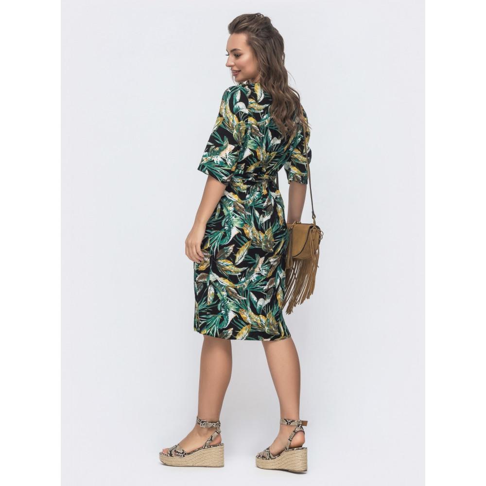 Интересное зеленое платье из льна  фото 2