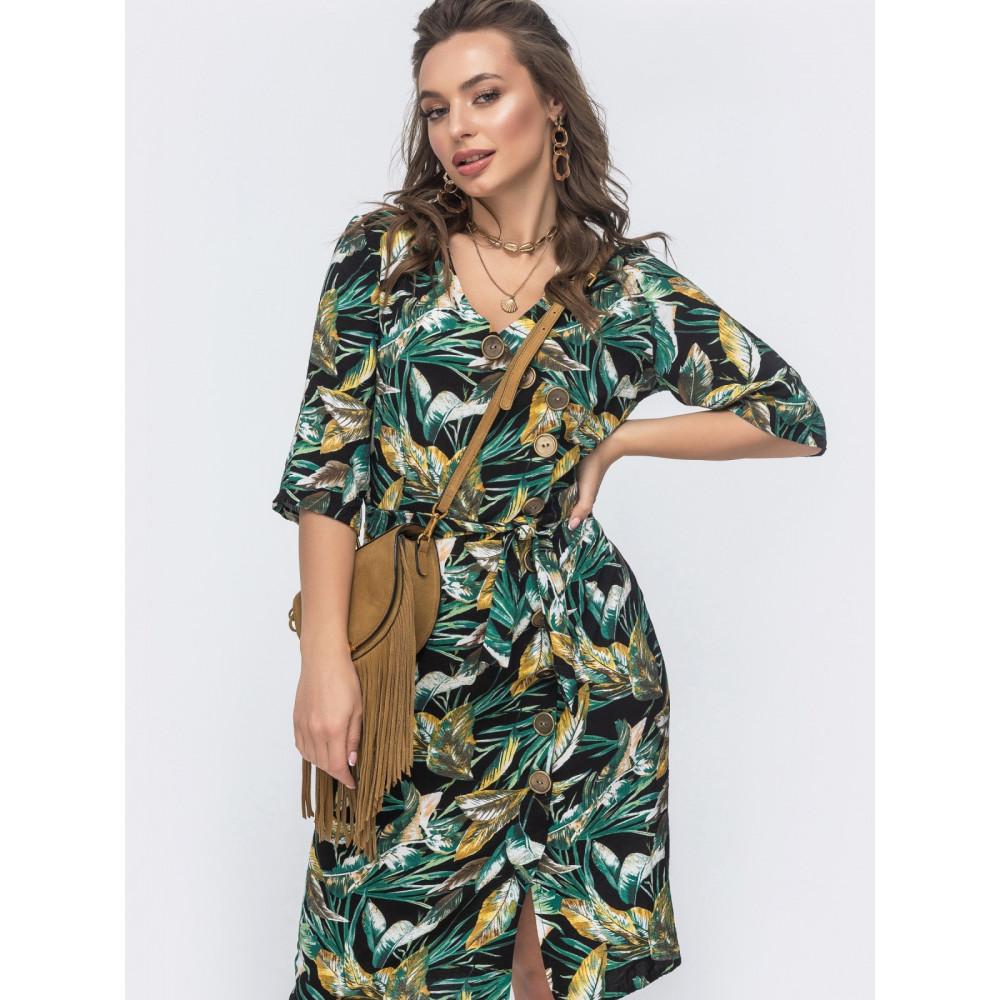 Интересное зеленое платье из льна  фото 3