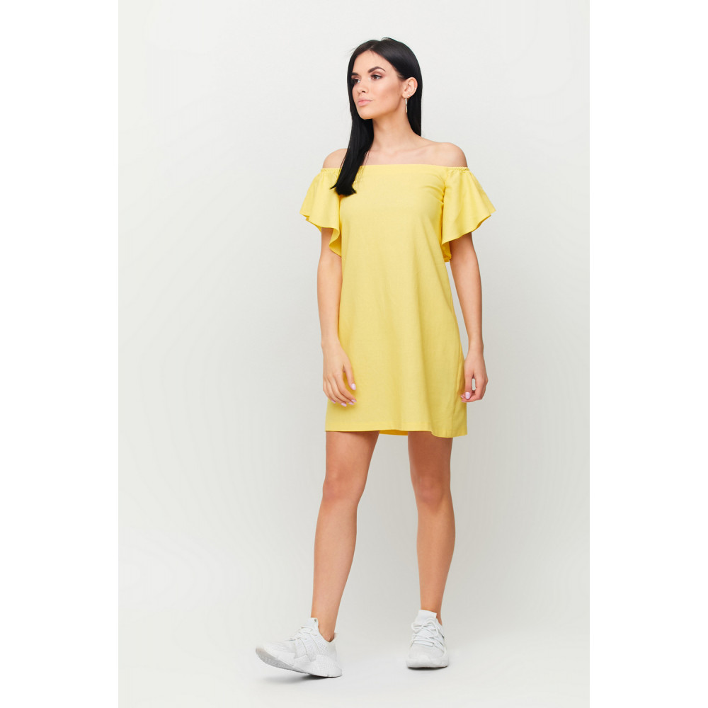Желтое льняное платье Каир фото 2