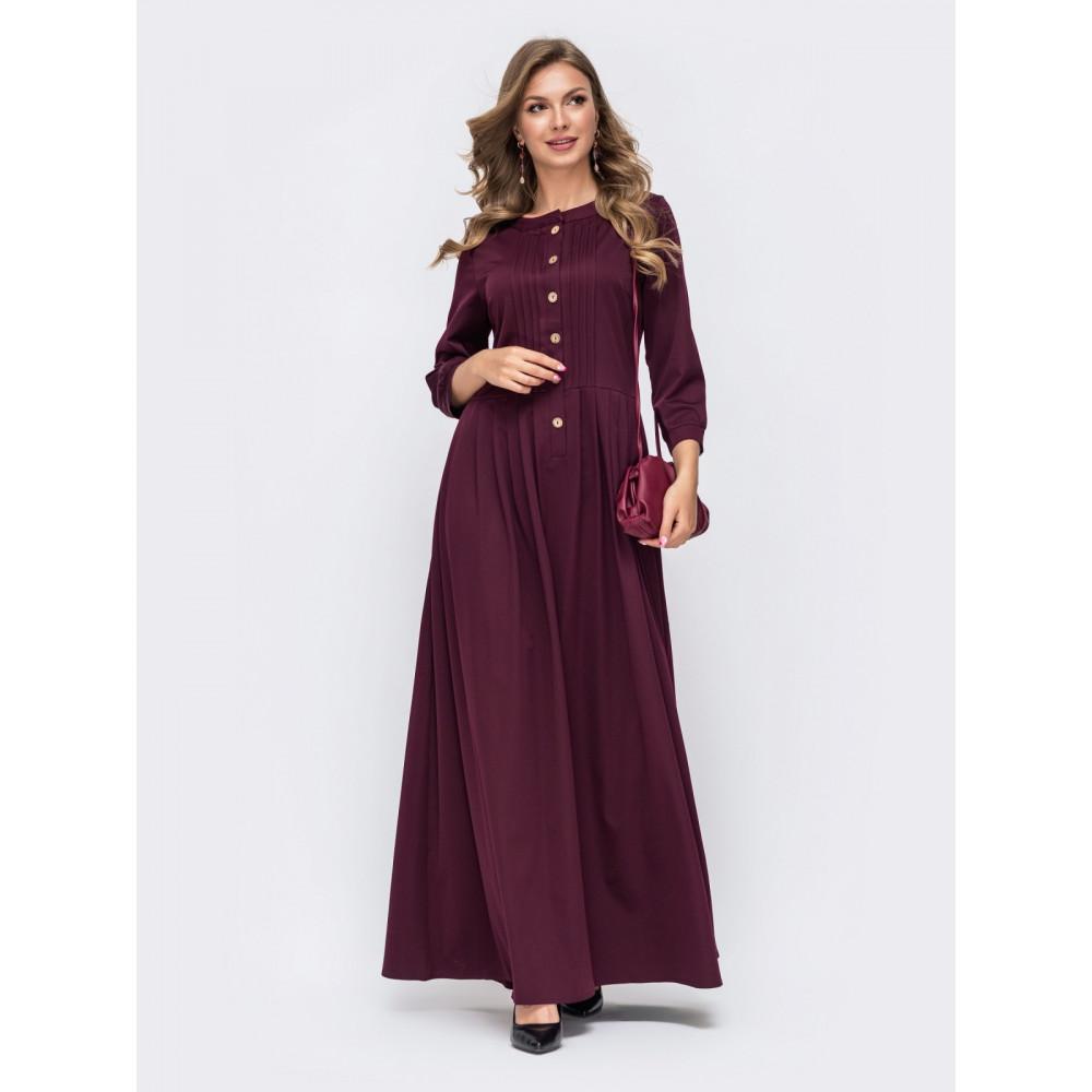 Длинное бордовое платье фото 1