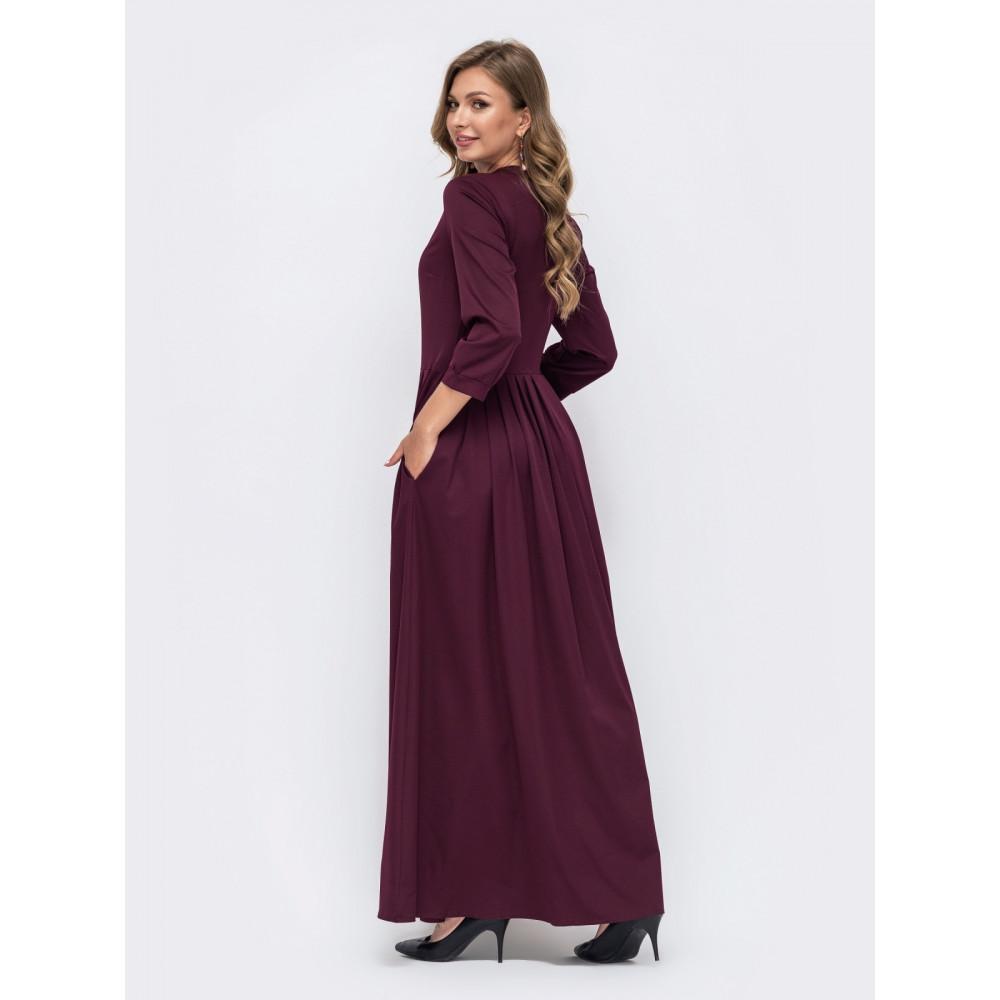 Длинное бордовое платье фото 2