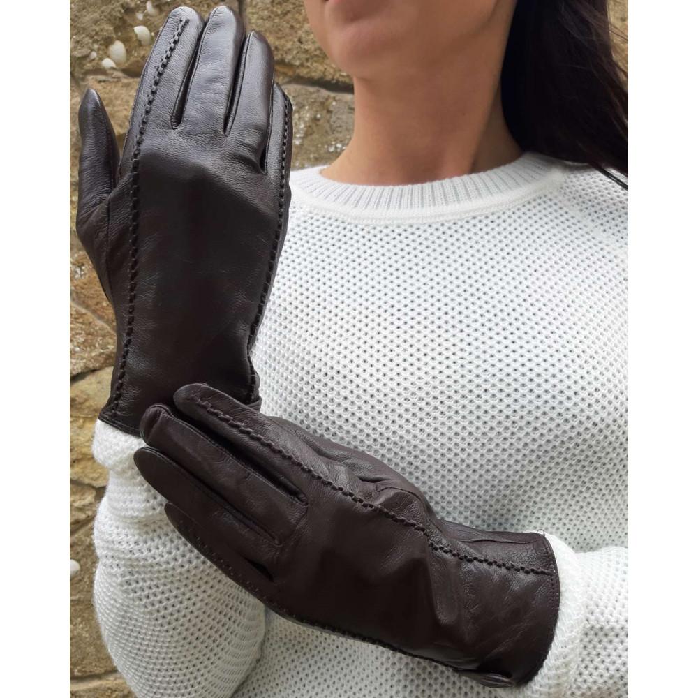 Коричневые кожаные перчатки фото 1