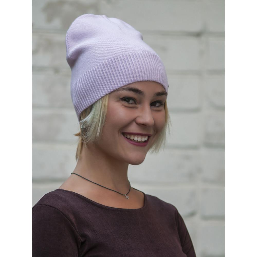Лавандовая теплая шапка Леона с флисом фото 1