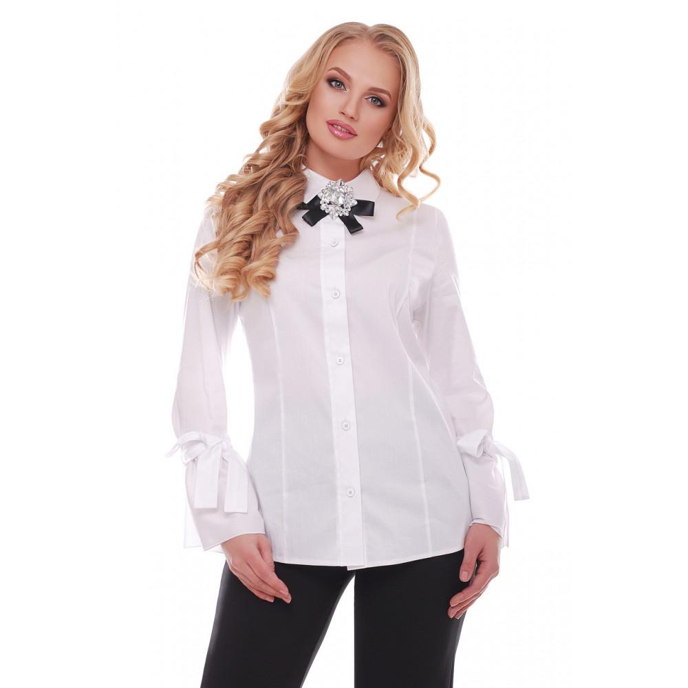 Белая рубашка из коттона Агата фото 1