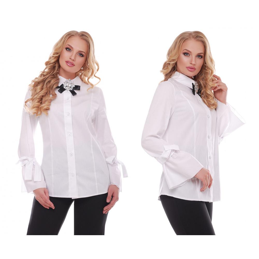 Белая рубашка из коттона Агата фото 3