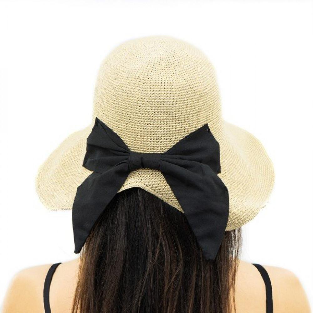 Бежевая шляпка с красивым бантом Кира  фото 2