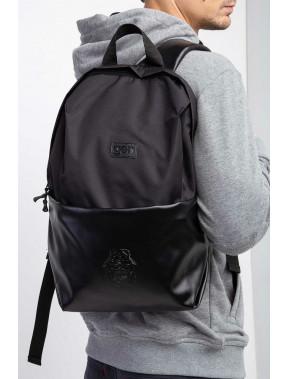 Великий чорний рюкзак з екошкіри Maks