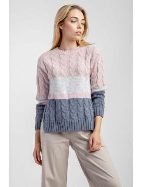 Прямий комбінований светр з косами