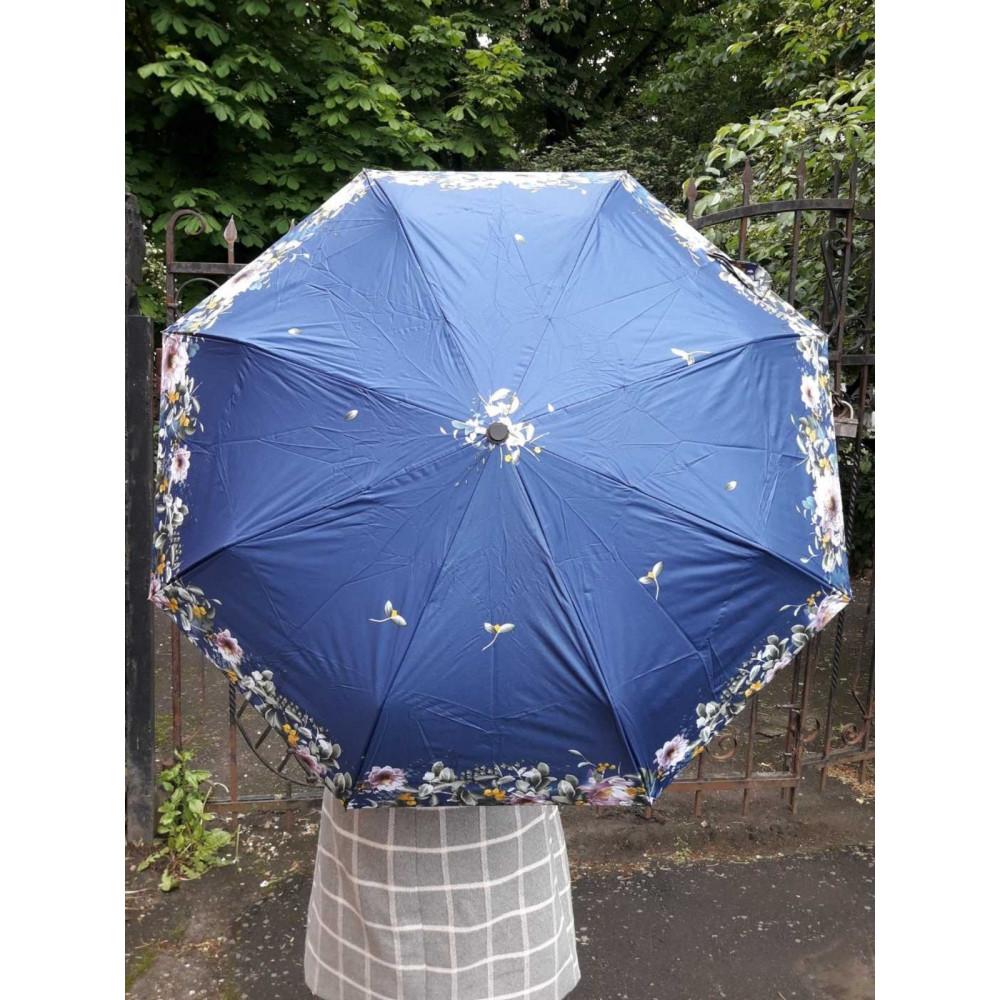 Женский зонт синего цвета с рисунком фото 1
