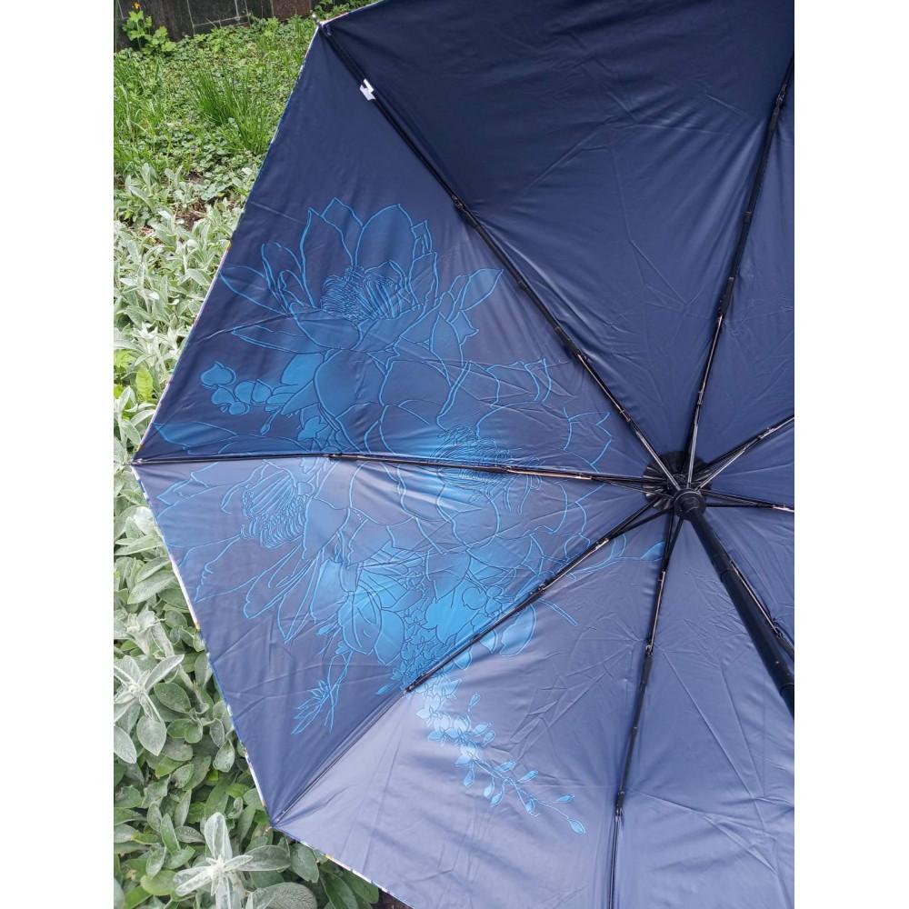 Женский зонт синего цвета с рисунком фото 4