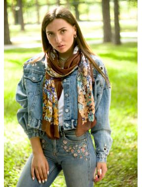 Шелковый коричневый шарф Valentino