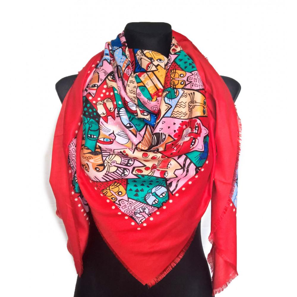 Красный платок с ярким рисунком Котики фото 1