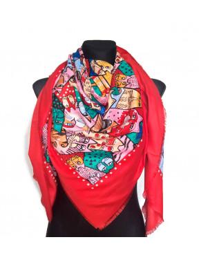 Красный платок с ярким рисунком Котики