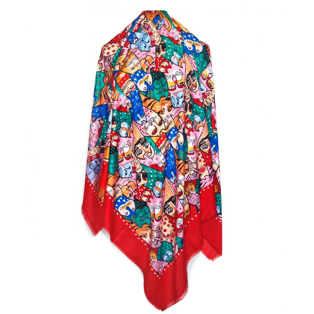 Красный платок с ярким рисунком Котики фото 2