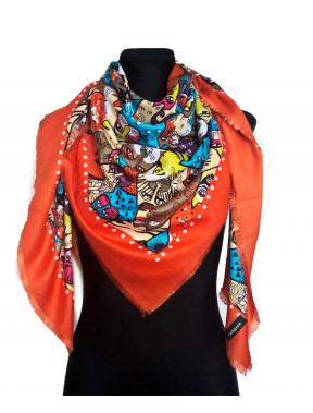 Стильный оранжевый платок с принтом Котики