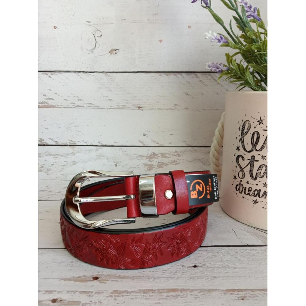 Красный ремень с серебряной пряжкой  фото 1