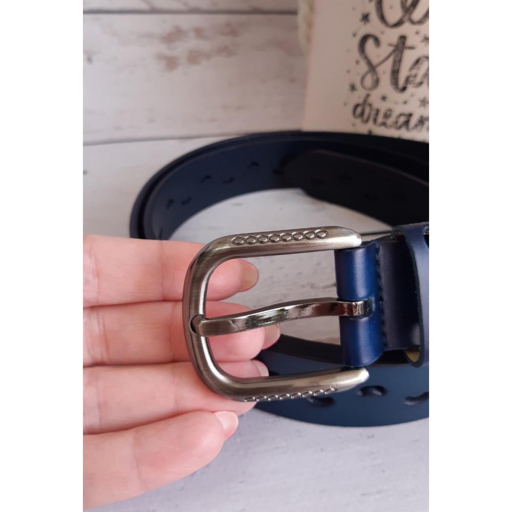 Кожаный синий ремень фото 3