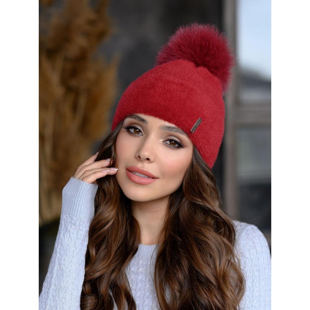 Красная шапка из мягкой пряжи София  фото 1