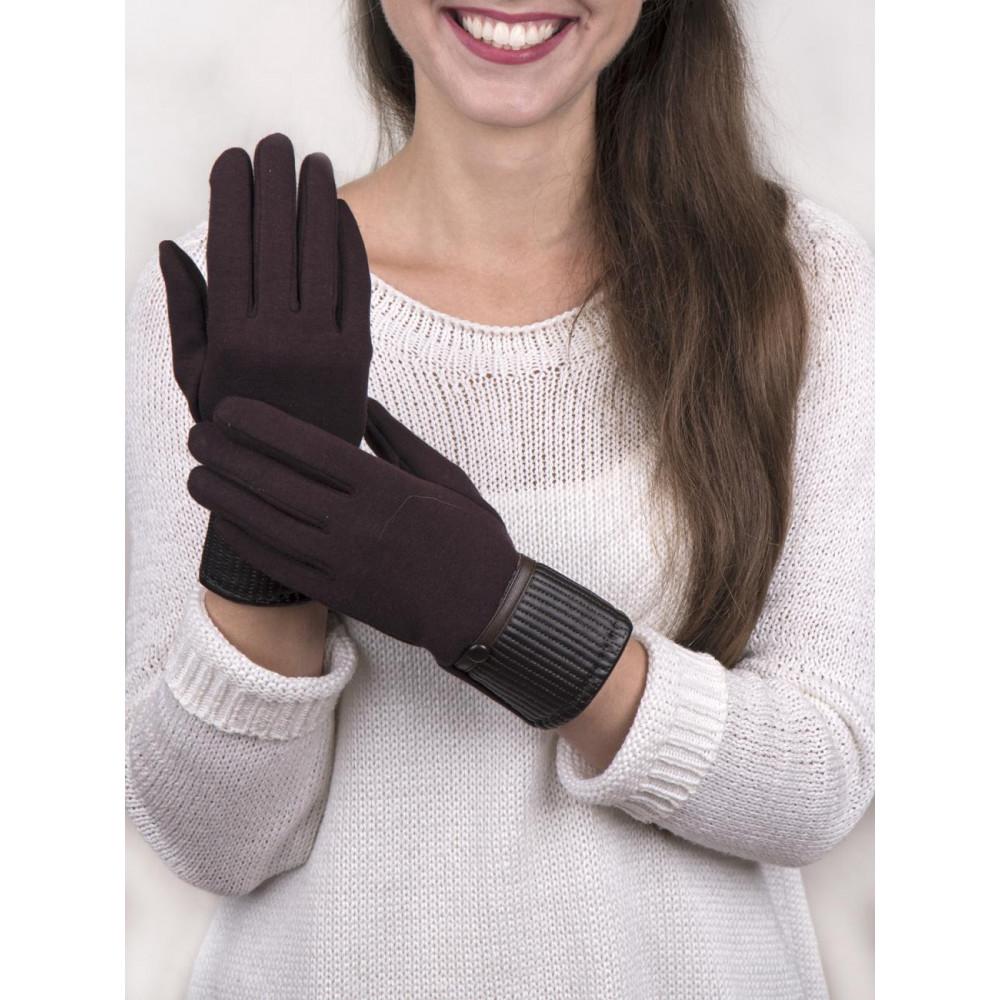 Коричневые женские перчатки фото 1