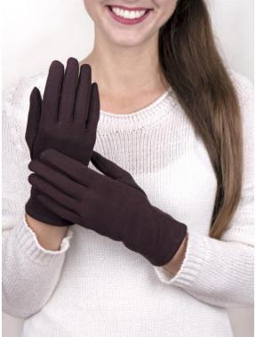 Трикотажные коричневые перчатки