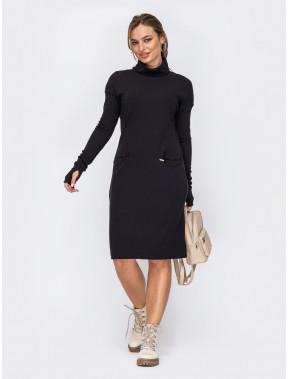 Черное платье прямого кроя Молли